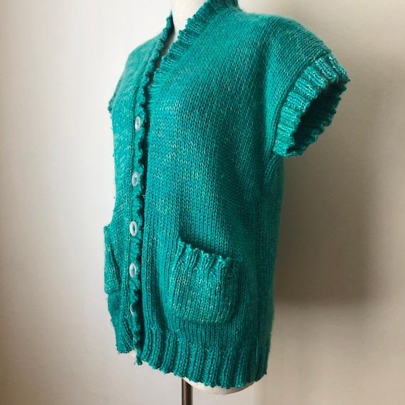 Vintage oversized chunky knit sweater vest cardiga