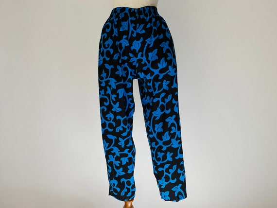 Vintage Black & Blue Vines Skirt-Pants 3-piece Se… - image 7