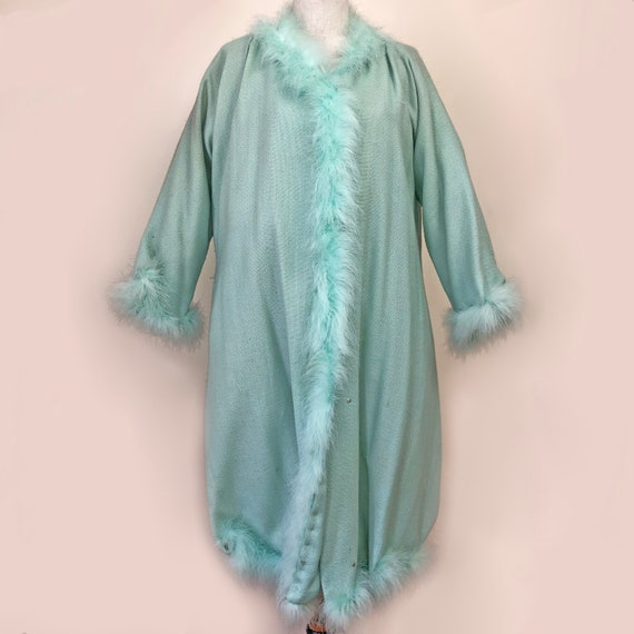 Vintage Seafoam Green Cashmere & Marabou feather R