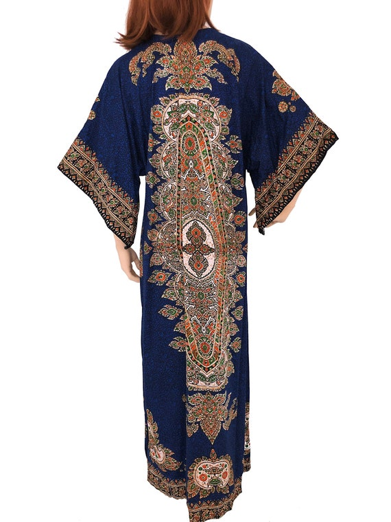 Vintage Batik Thai Cotton Kaftan Maxi Dress
