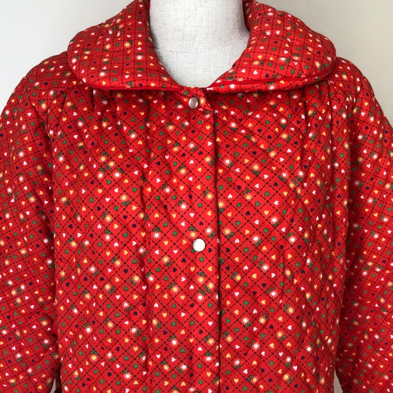 Vintage 70s Red Quilted Jacket Coat Housecoat - image 9