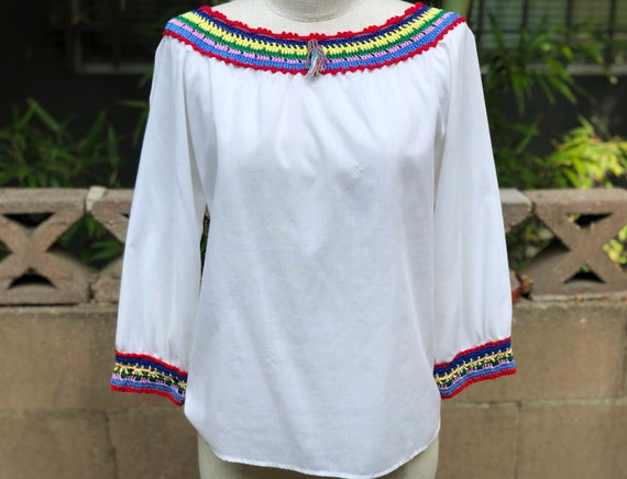 Vintage Blouse with Rainbow Crochet
