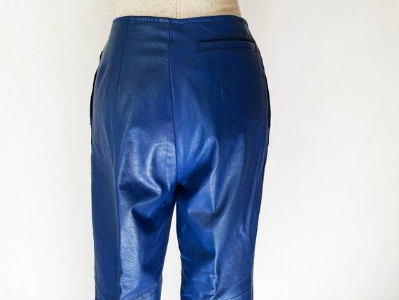 Vintage 80s Primary Blue Leather Pants // Retro 1… - image 6