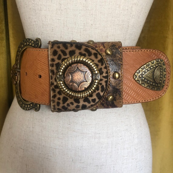 Vintage Oversized 80s Leopard Statement Belt