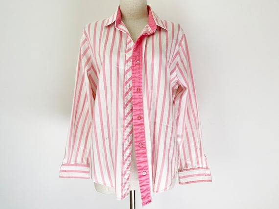 Vintage 80s Candy Pink White Striped Womens' Butto