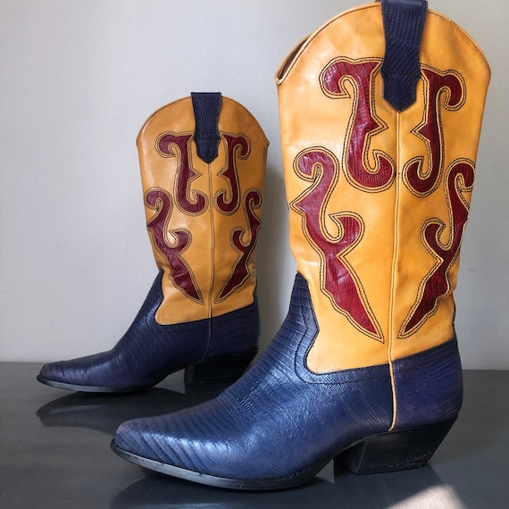 Vintage Blue Gold & Red Western Cowboy Boots