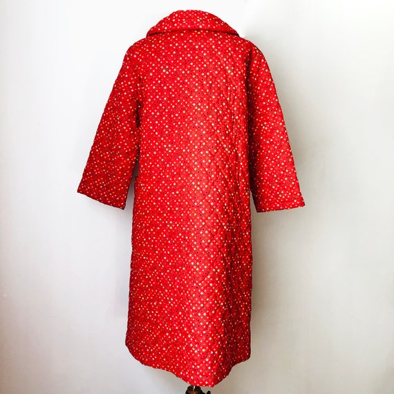 Vintage 70s Red Quilted Jacket Coat Housecoat - image 6