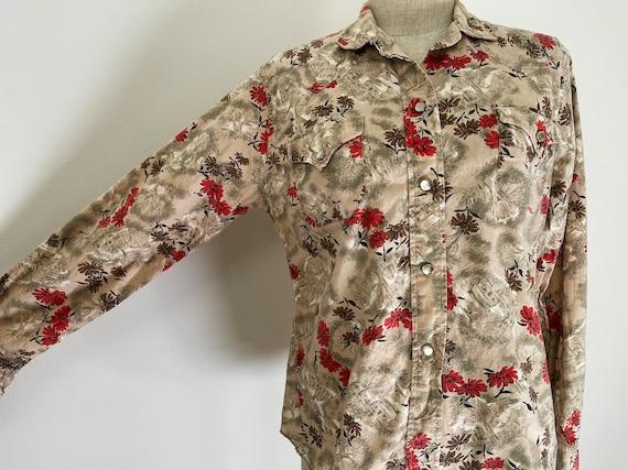 Vintage western H bar C button down floral shirt - image 1