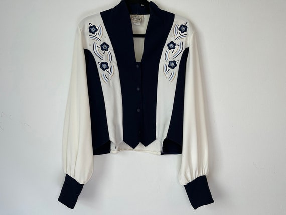 Navy & White Womens Vintage Western Shirt Ranch We