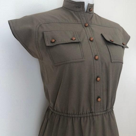 Vintage Olive Green Dress with Pockets
