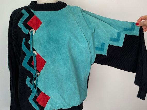 Vintage 80s Western Southwestern Pullover Suede Le