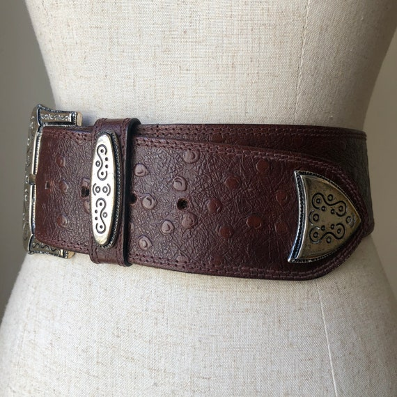 Vintage 80s Chocolate Brown Ostrich Leather Statem