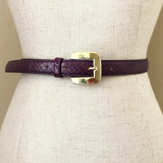 Vintage Purple Snake Skin Leather Belt
