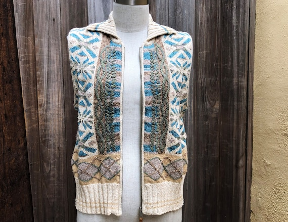 Vintage Hand Embroidered Sweater Vest - image 8