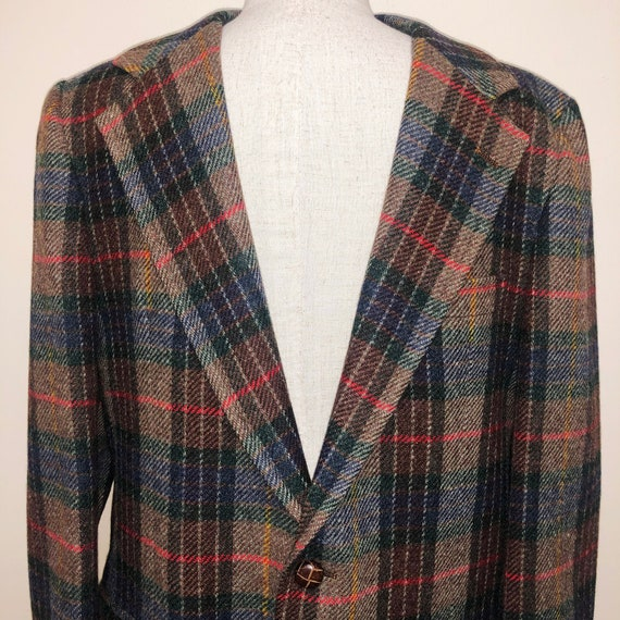 Oversized Vintage 70s Plaid Wool Blazer Jacket