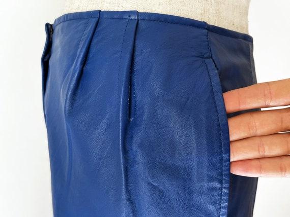 Vintage 80s Primary Blue Leather Pants // Retro 1… - image 10