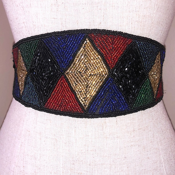 Vintage Beaded Harlequin Statement Belt