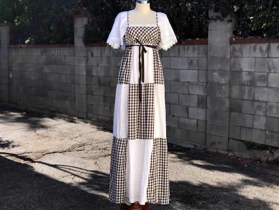 Vintage Brown-White Patchwork Gingham Eyelet-lace