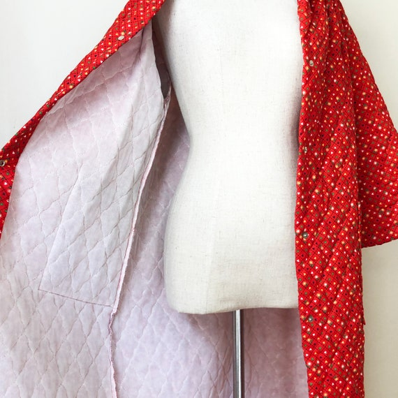 Vintage 70s Red Quilted Jacket Coat Housecoat - image 8