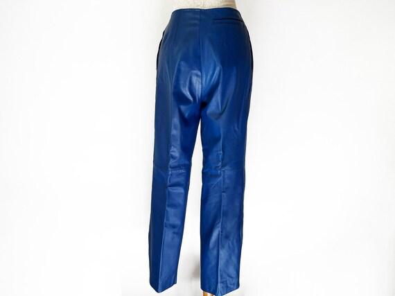 Vintage 80s Primary Blue Leather Pants // Retro 1… - image 5