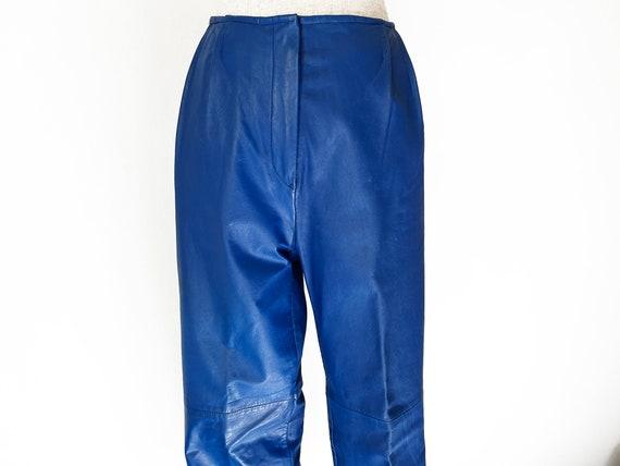 Vintage 80s Primary Blue Leather Pants // Retro 1… - image 2