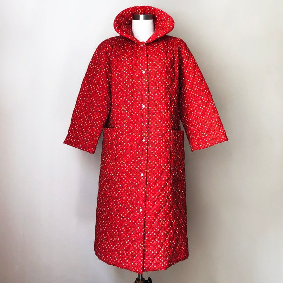 Vintage 70s Red Quilted Jacket Coat Housecoat - image 2