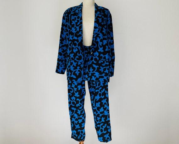 Vintage Black & Blue Vines Skirt-Pants 3-piece Se… - image 4