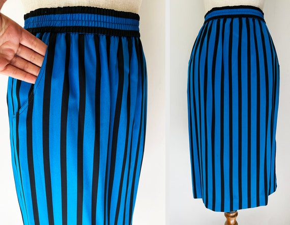 Vintage Black & Blue Vines Skirt-Pants 3-piece Se… - image 8