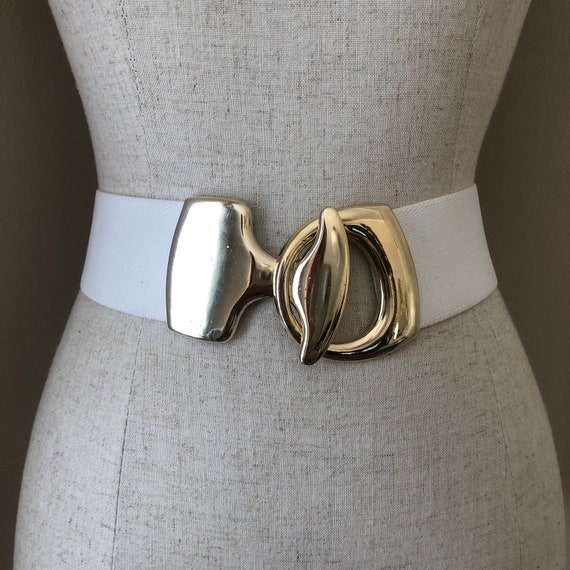 Vintage White & Gold 80s Statement Belt