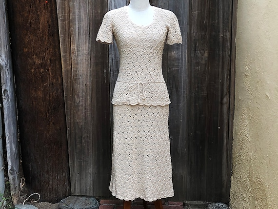 Vintage 1970s Crochet Skirt Set