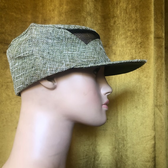Vintage Olive Green Straw Baseball Hat Cap - image 2