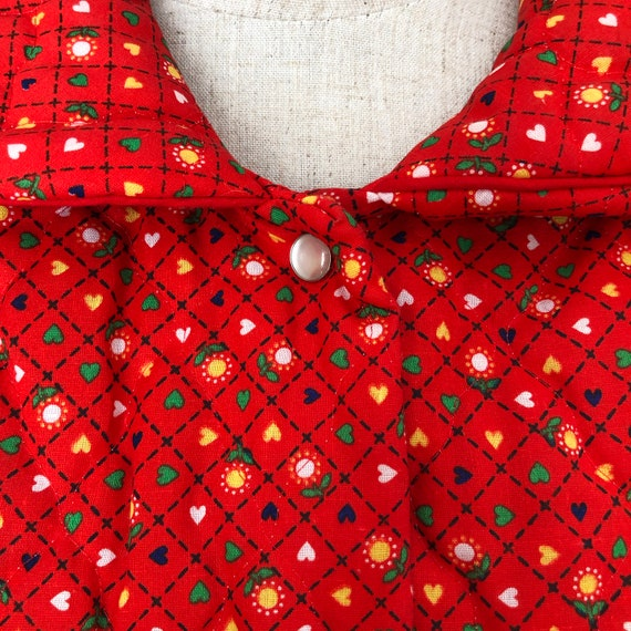 Vintage 70s Red Quilted Jacket Coat Housecoat - image 3
