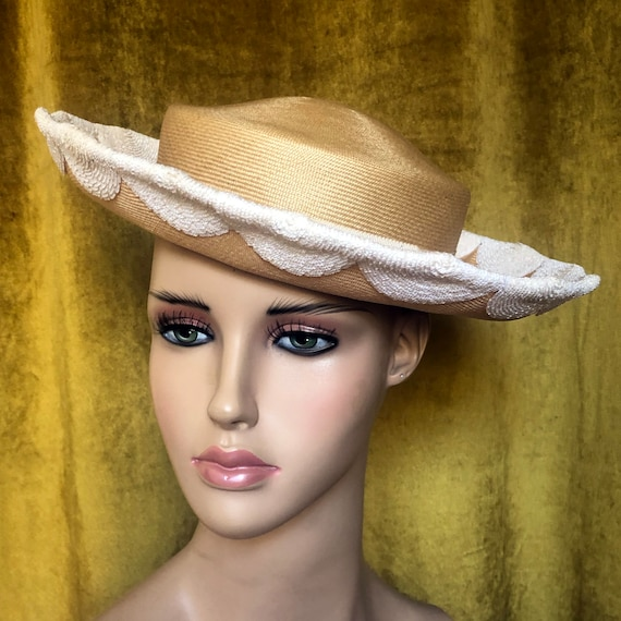 Vintage Ladies Straw flip brim Boater Hat