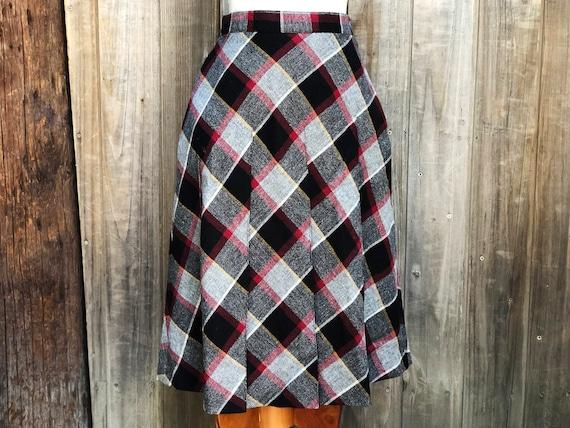 Vintage Pleated Plaid Wool Skirt