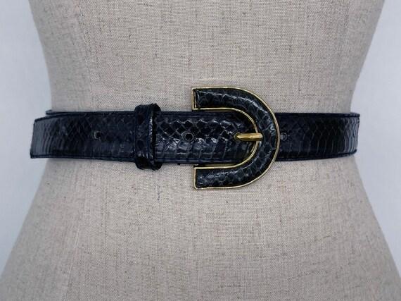 Vintage 80s Navy Blue & Gold Snakeskin Belt // Re… - image 1
