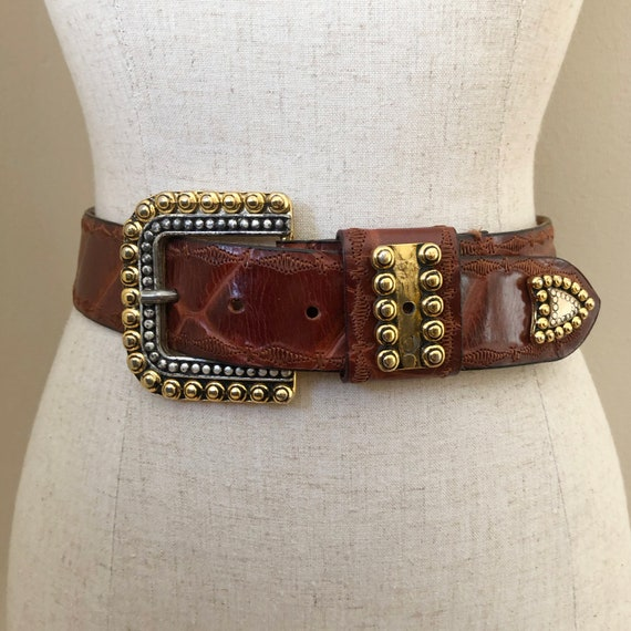 Vintage Brown Gold & Silver Statement Belt