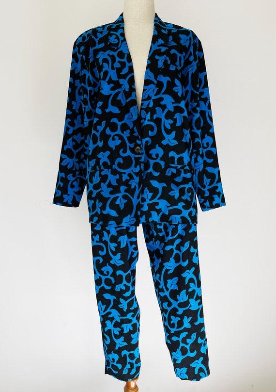 Vintage Black & Blue Vines Skirt-Pants 3-piece Se… - image 2