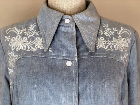 Vintage 1970s Denim Jacket & Pants Set With White
