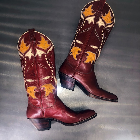 Vintage Maroon Red Leather Cowboy Boots Gold Leave