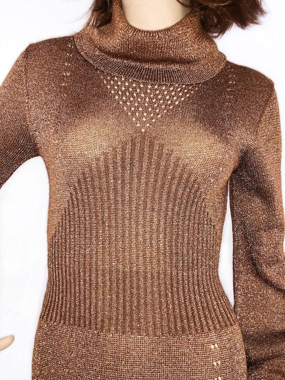 Vintage 1970s Wenjilli Lurex Metallic Knit Copper