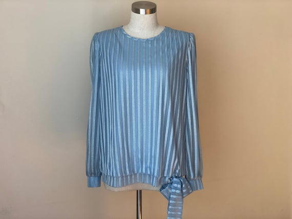 Vintage Blue Striped Secretary Blouse with sheer s