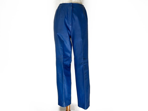 Vintage 80s Primary Blue Leather Pants // Retro 1… - image 1