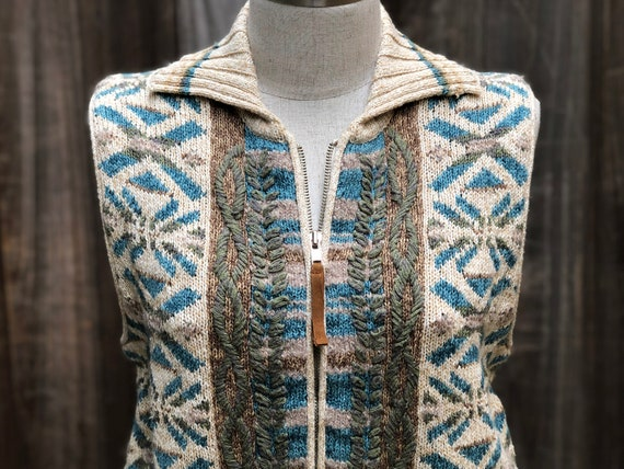 Vintage Hand Embroidered Sweater Vest - image 2