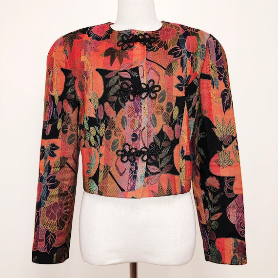 Vintage Rainbow Floral 80s Tapestry Jacket
