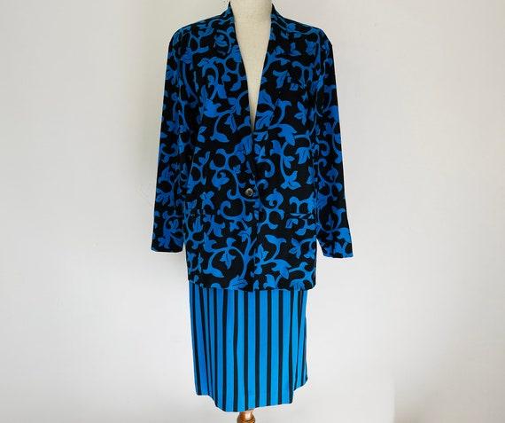 Vintage Black & Blue Vines Skirt-Pants 3-piece Se… - image 9