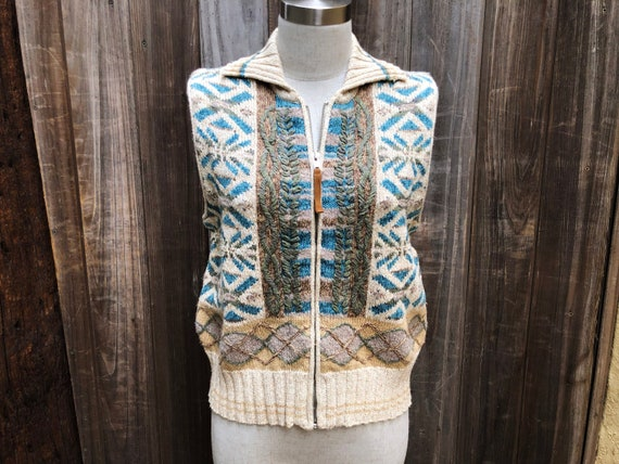 Vintage Hand Embroidered Sweater Vest - image 1