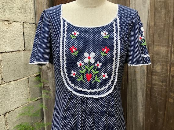 Vintage Embroidered Floral Boho Prairie Dress