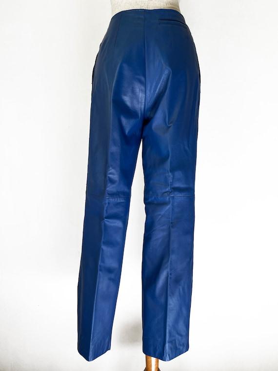 Vintage 80s Primary Blue Leather Pants // Retro 1… - image 7