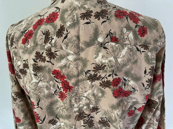 Vintage western H bar C button down floral shirt - image 5