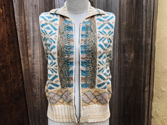 Vintage Hand Embroidered Sweater Vest - image 7
